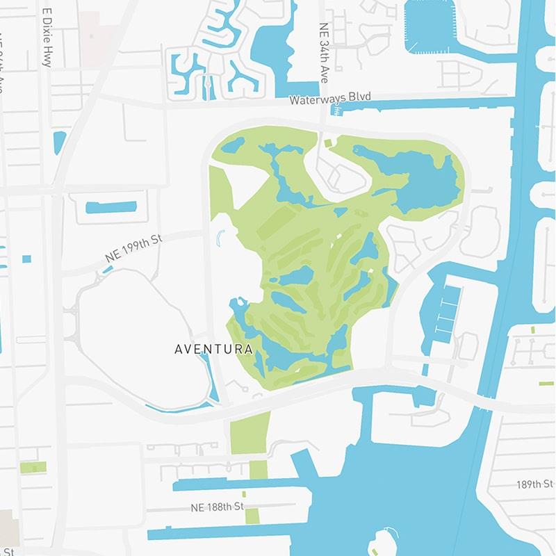 Map illustration of Aventura, Florida.