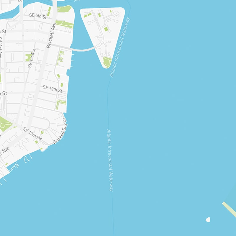 Map illustration of Brickell, Florida.