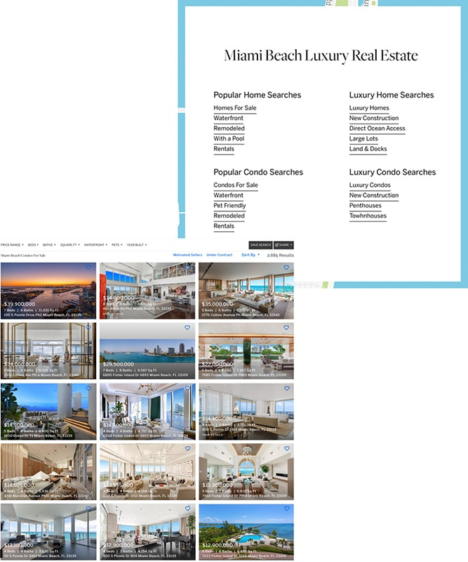 Split image of Arte Residences exterior on the top and a large wooden terrace with an ocean view on the bottom half.