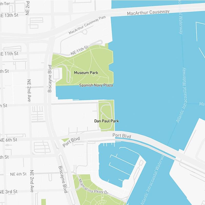 Map illustration of Downtown Miami, Florida.