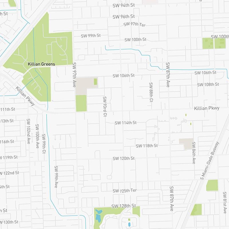 Map illustration of East Kendall Miami, Florida.