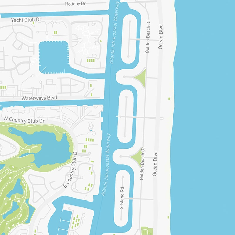 Map illustration of Golden Beach, Florida.