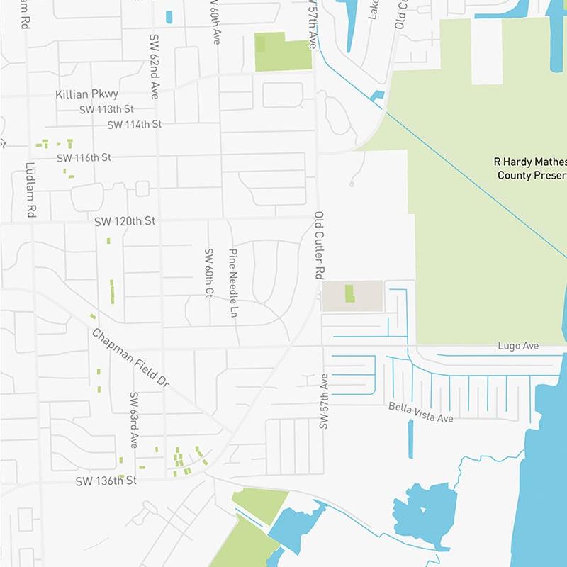 Map illustration of Pinecrest, Florida.