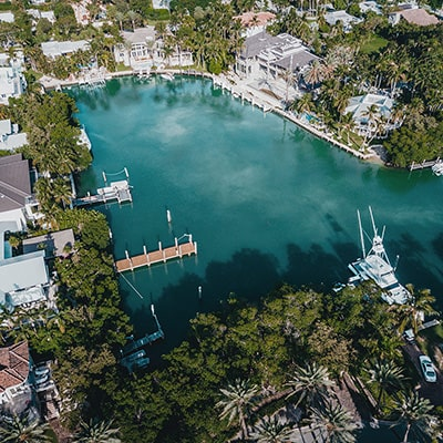 Luxury waterfront homes in a private cove.